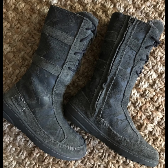 New Kids TEVA Kiru Beluga Grey Tall Warm Winter Suede Leather Lace Up Boots